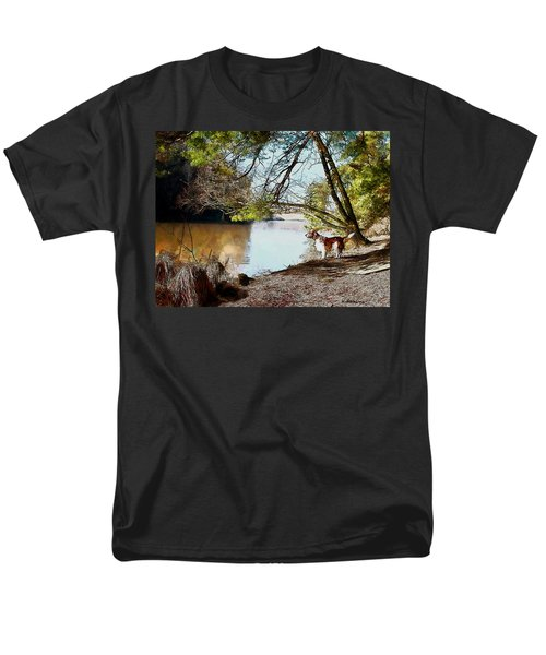 Men's T-Shirt  (Regular Fit) featuring the painting Welsh Springer Spaniel By The River by Kai Saarto
