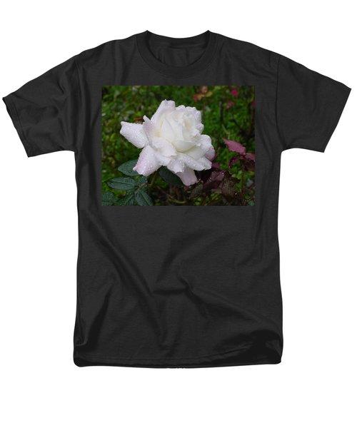 White Rose In Rain Men's T-Shirt  (Regular Fit) by Shirley Heyn