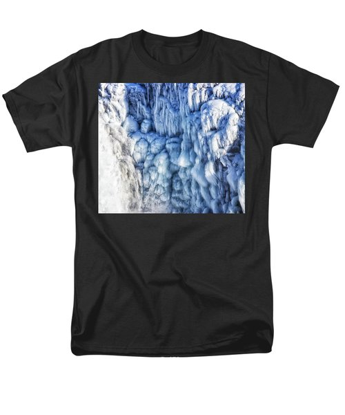 Men's T-Shirt  (Regular Fit) featuring the photograph White Water And Blue Ice Gullfoss Waterfall Iceland by Matthias Hauser