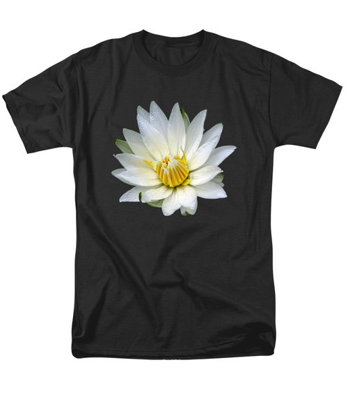 Men's T-Shirt  (Regular Fit) featuring the photograph White Waterlily With Dewdrops by Rose Santuci-Sofranko