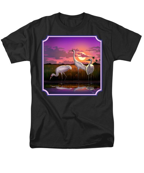 Whooping Cranes At Sunset Tropical Landscape - Square Format Men's T-Shirt  (Regular Fit) by Walt Curlee