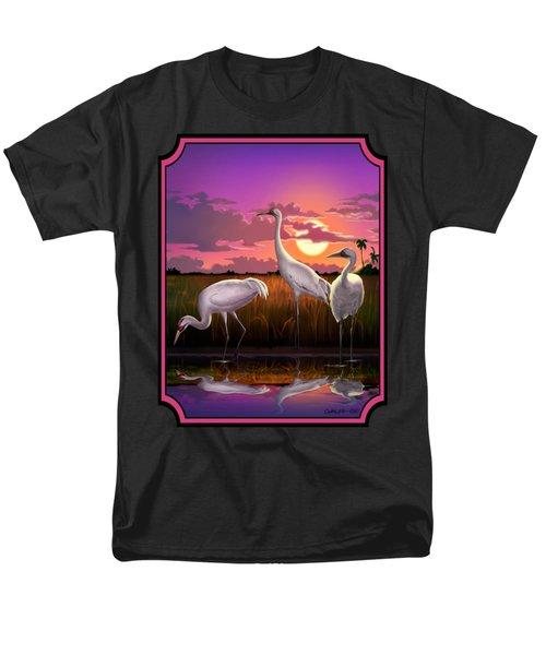 Whooping Cranes Tropical Florida Everglades Sunset Birds Landscape Scene Purple Pink Print Men's T-Shirt  (Regular Fit) by Walt Curlee