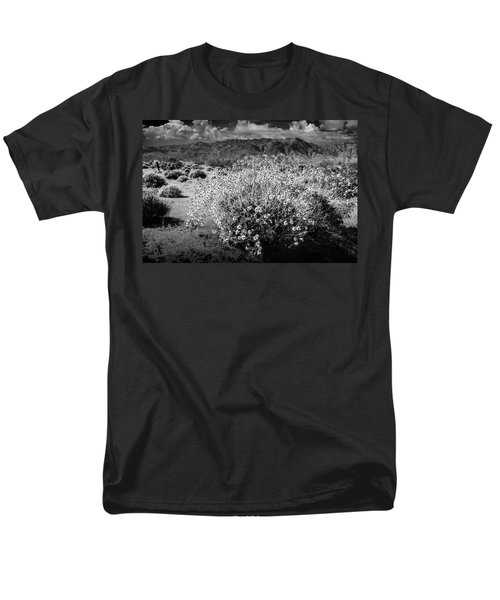 Men's T-Shirt  (Regular Fit) featuring the photograph Wild Desert Flowers Blooming In Black And White In The Anza-borrego Desert State Park by Randall Nyhof