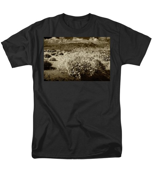 Men's T-Shirt  (Regular Fit) featuring the photograph Wild Desert Flowers Blooming In Sepia Tone  by Randall Nyhof