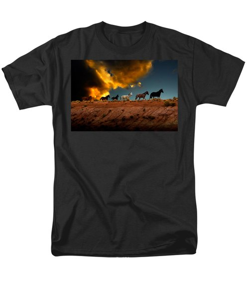 Men's T-Shirt  (Regular Fit) featuring the photograph Wild Horses At Sunset by Harry Spitz
