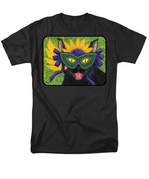 Wild Mardi Gras Cat Men's T-Shirt  (Regular Fit) by Carrie Hawks