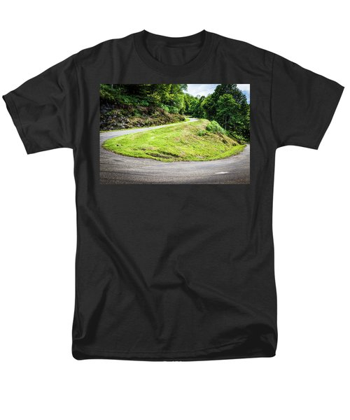 Men's T-Shirt  (Regular Fit) featuring the photograph Winding Road With Sharp Bend Going Up The Mountain by Semmick Photo
