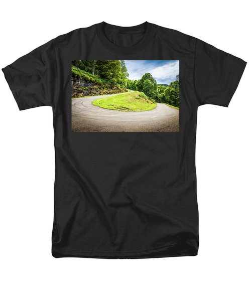 Men's T-Shirt  (Regular Fit) featuring the photograph Winding Road With Sharp Curve Going Up The Mountain by Semmick Photo
