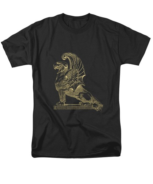 Winged Chimera From Theater De Bellecour, Lyon, France, In Gold On Black Men's T-Shirt  (Regular Fit) by Serge Averbukh