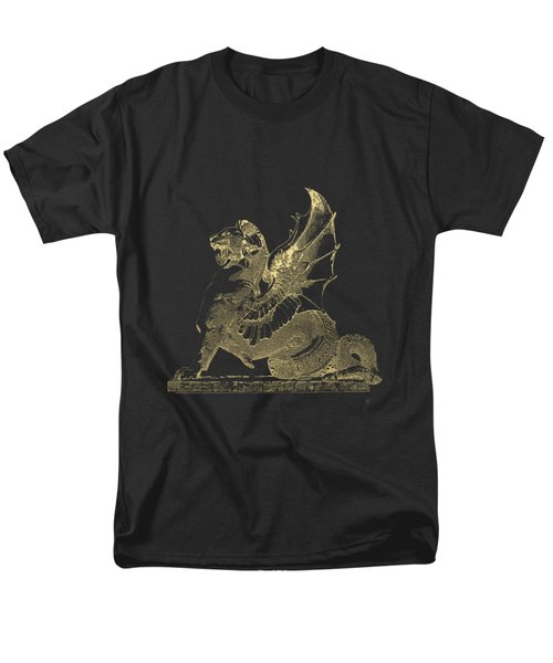 Winged Dragon Chimera From Fontaine Saint-michel, Paris In Gold On Black Men's T-Shirt  (Regular Fit) by Serge Averbukh