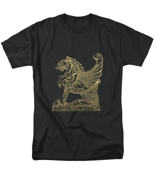 Winged Lion Chimera From Casa San Isidora, Santiago, Chile, In Gold On Black Men's T-Shirt  (Regular Fit) by Serge Averbukh