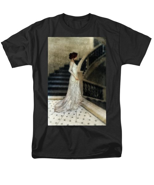 Woman In Lace Gown On Staircase Men's T-Shirt  (Regular Fit) by Jill Battaglia