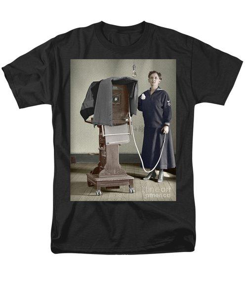 Woman Photographer With Large Camera 1900 Men's T-Shirt  (Regular Fit) by Martin Konopacki Restoration