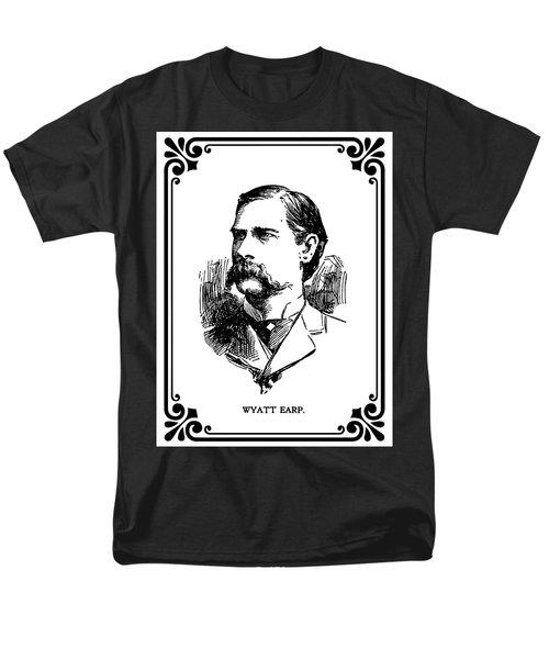 Men's T-Shirt  (Regular Fit) featuring the mixed media Wyatt Earp Newspaper Portrait  1896 by Daniel Hagerman