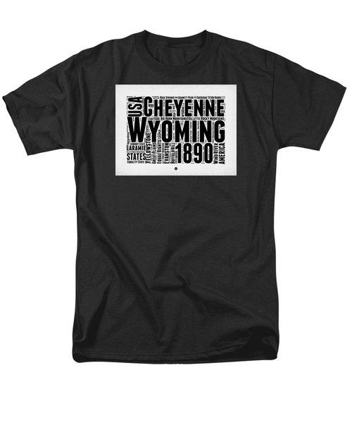 Wyoming Word Cloud Map 2 Men's T-Shirt  (Regular Fit) by Naxart Studio