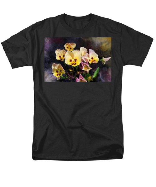 Yellow And Pink Pansies Men's T-Shirt  (Regular Fit) by Debra Baldwin