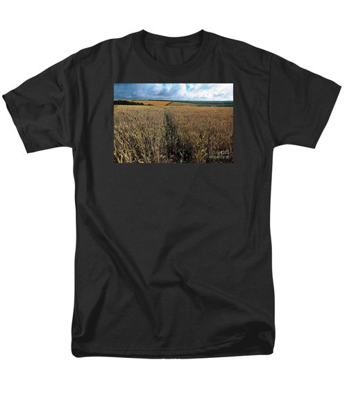 Men's T-Shirt  (Regular Fit) featuring the photograph Yellow Filds And Fluffy Clouds by Gary Bridger