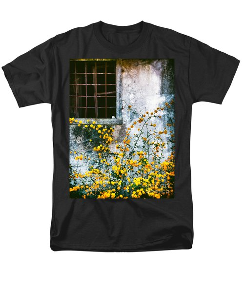Men's T-Shirt  (Regular Fit) featuring the photograph Yellow Flowers And Window by Silvia Ganora