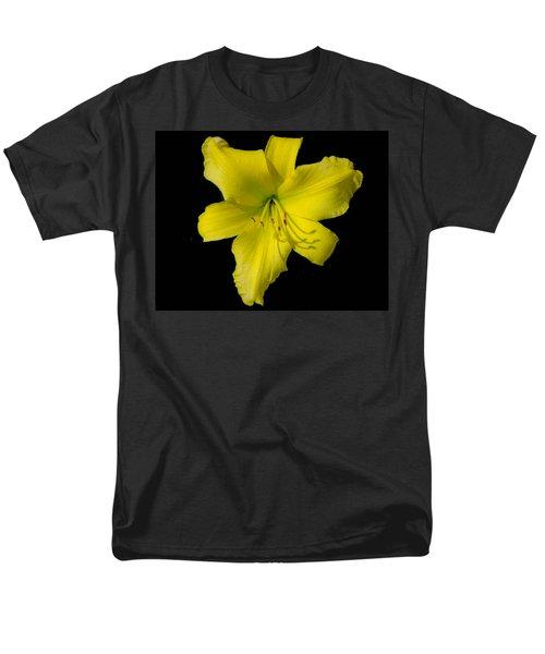 Yellow Lily Flower Black Background Men's T-Shirt  (Regular Fit) by Bruce Pritchett