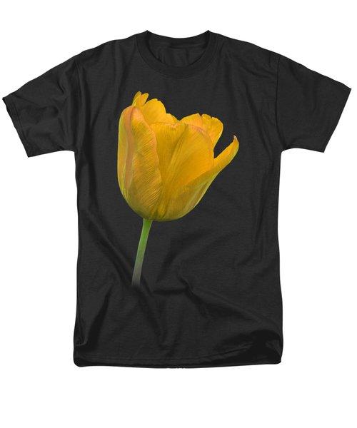 Yellow Tulip Open On Black Men's T-Shirt  (Regular Fit) by Gill Billington