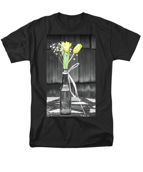 Yellow Tulips In Glass Bottle Men's T-Shirt  (Regular Fit) by Terry DeLuco