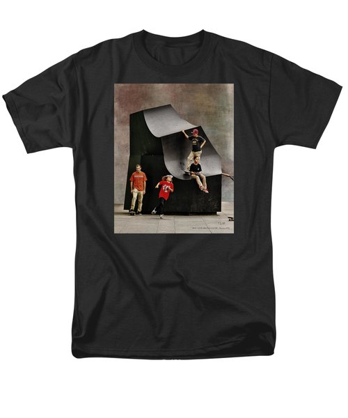 Young Skaters Around A Sculpture Men's T-Shirt  (Regular Fit) by Pedro L Gili