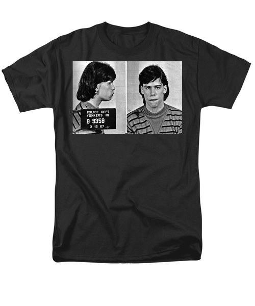 Young Steven Tyler Mug Shot 1963 Pencil Photograph Black And White Men's T-Shirt  (Regular Fit) by Tony Rubino