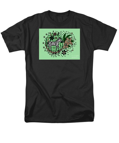 Men's T-Shirt  (Regular Fit) featuring the drawing Zebra Illustration by Saribelle Rodriguez