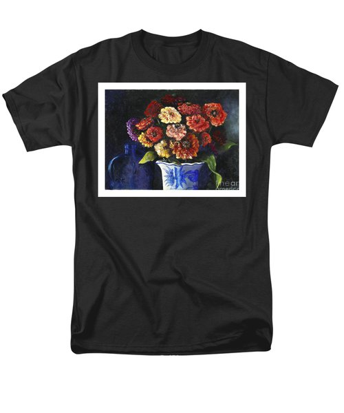 Men's T-Shirt  (Regular Fit) featuring the painting Zinnias by Marlene Book