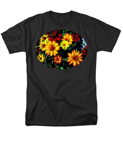 Men's T-Shirt  (Regular Fit) featuring the digital art Zinnias With Zest by Nick Kloepping