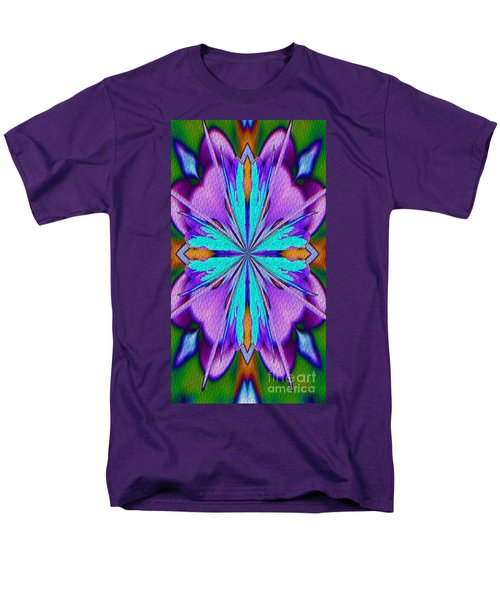Men's T-Shirt  (Regular Fit) featuring the digital art Abstract Purple Aqua And Green by Smilin Eyes  Treasures