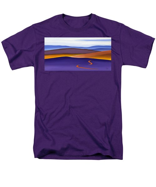 Blue Ridge Orange Mountains Sky And Road In Fall Men's T-Shirt  (Regular Fit) by Catherine Twomey