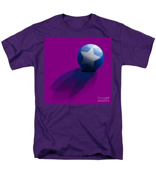 Men's T-Shirt  (Regular Fit) featuring the digital art Blue Ball Decorated With Star Purple Background by R Muirhead Art