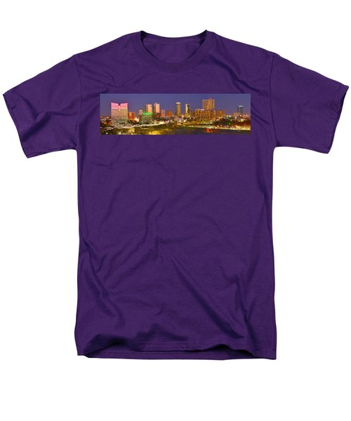 Men's T-Shirt  (Regular Fit) featuring the photograph Fort Worth Skyline At Night Color Evening Panorama Ft. Worth Texas by Jon Holiday