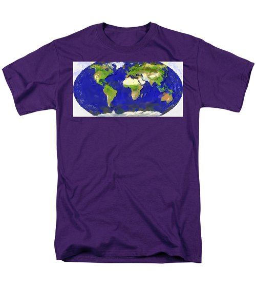 Men's T-Shirt  (Regular Fit) featuring the painting Global Map Painting by Georgi Dimitrov