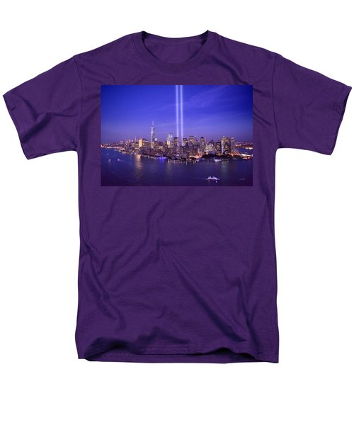 Men's T-Shirt  (Regular Fit) featuring the photograph New York City Tribute In Lights World Trade Center Wtc Manhattan Nyc by Jon Holiday