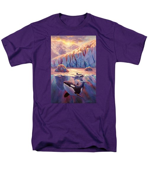 Orca Sunrise At The Glacier Men's T-Shirt  (Regular Fit) by Karen Whitworth