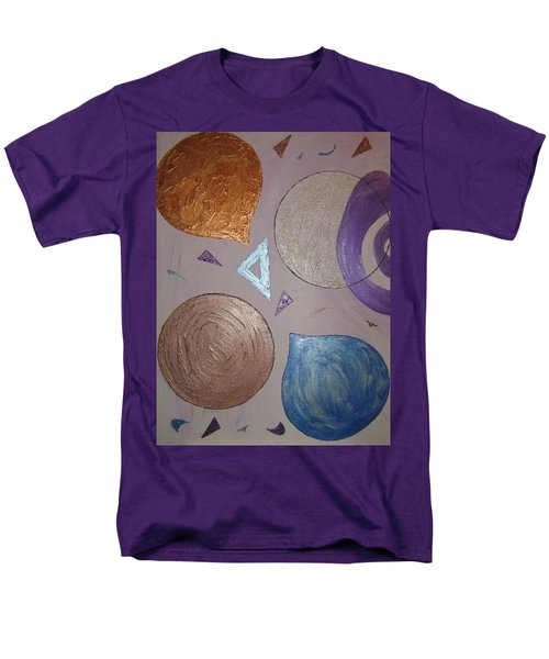 Purple And Metallic Shapes Men's T-Shirt  (Regular Fit) by Barbara Yearty