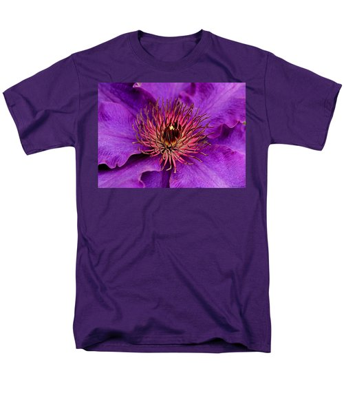 Men's T-Shirt  (Regular Fit) featuring the photograph Purple Clematis by Suzanne Stout