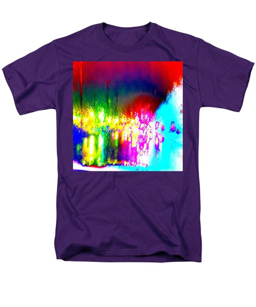 Rainbow Splash Abstract Men's T-Shirt  (Regular Fit) by Marianne Dow