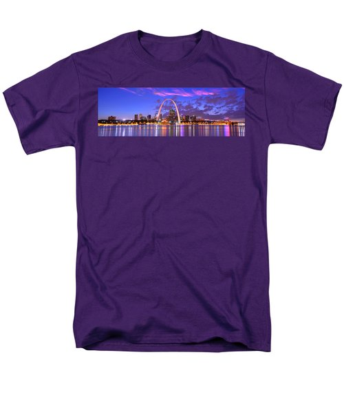 Men's T-Shirt  (Regular Fit) featuring the photograph St. Louis Skyline At Dusk Gateway Arch Color Panorama Missouri by Jon Holiday