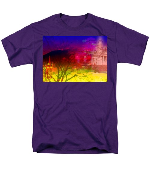 Men's T-Shirt  (Regular Fit) featuring the digital art Surreal Buildings  by Cathy Anderson