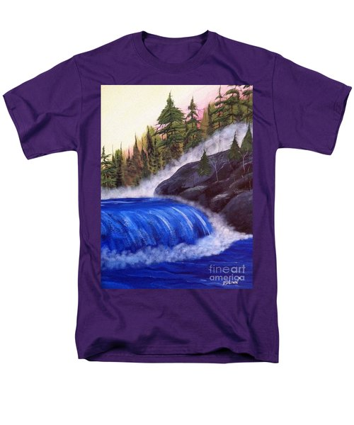 Men's T-Shirt  (Regular Fit) featuring the painting Water Fall By Rocks by Brenda Brown