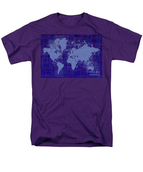 World Map Rettangoli In Blue And White Men's T-Shirt  (Regular Fit) by Eleven Corners