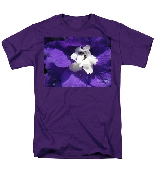 Men's T-Shirt  (Regular Fit) featuring the photograph Delphinium Named Blue With White Bee by J McCombie
