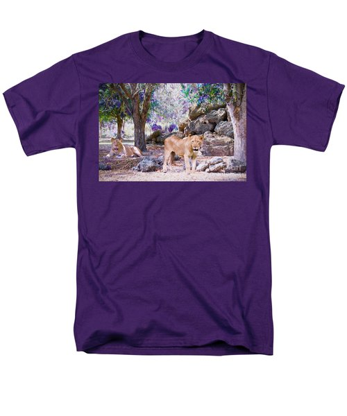 Men's T-Shirt  (Regular Fit) featuring the painting The Lions by Judy Kay