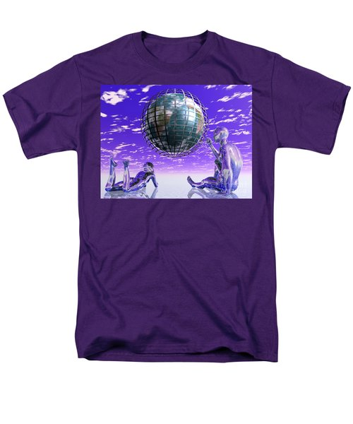 3d Aliens With Caged Earth Men's T-Shirt  (Regular Fit) by Nicholas Burningham