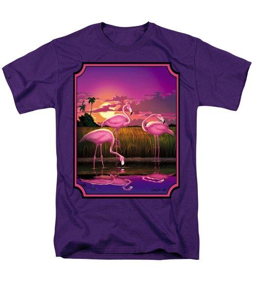 Flamingoes Flamingos Tropical Sunset Landscape Florida Everglades Large Hot Pink Purple Print Men's T-Shirt  (Regular Fit) by Walt Curlee