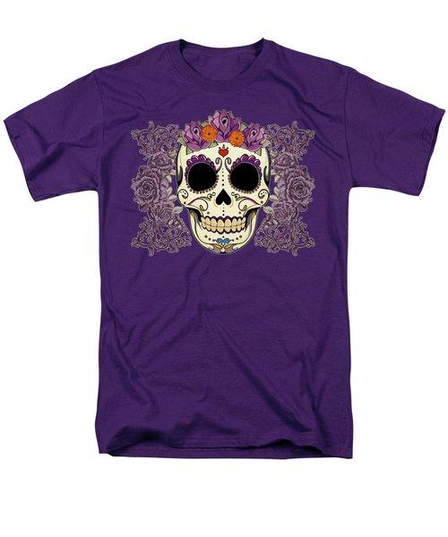 Vintage Sugar Skull And Roses Men's T-Shirt  (Regular Fit) by Tammy Wetzel