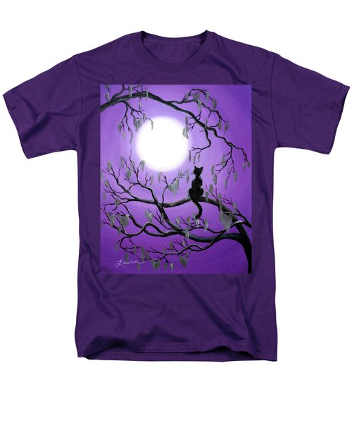 Black Cat In Mossy Tree Men's T-Shirt  (Regular Fit) by Laura Iverson